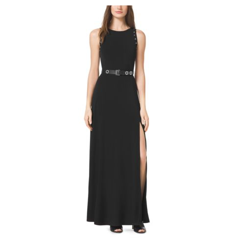 MICHAEL MICHAEL KORS Grommet Belted Maxi Dress BLACK